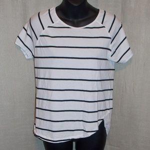 Zara Striped Asymmetrical Black White T-shirt